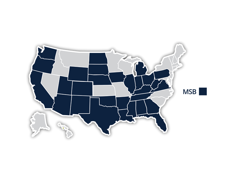 US map of MSB registrations